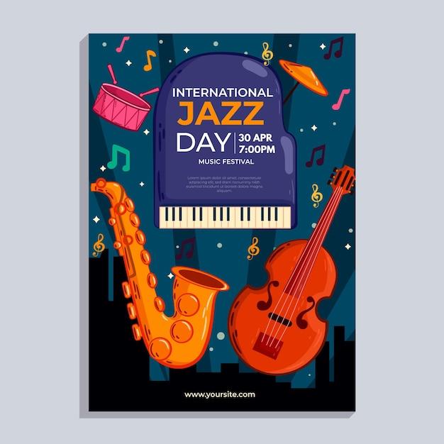 Hand gezeichnete vertikale plakatschablone des internationalen jazz-tages Premium Vektoren
