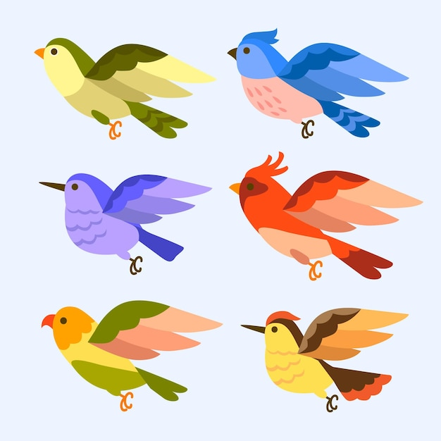 Hand gezeichnete vogelsammlung Kostenlosen Vektoren