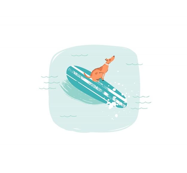 Hand gezeichnete waschbär-sommerzeit-spaßillustrationsikone mit dem schwimmenden surferhund auf longboard in den blauen ozeanwellen auf weißem hintergrund Premium Vektoren