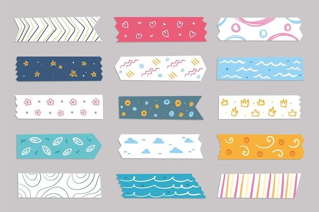 Hand gezeichnete washi tape sammlung Premium Vektoren