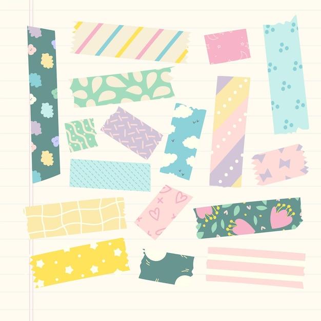 Hand gezeichnete washi tape sammlung Kostenlosen Vektoren