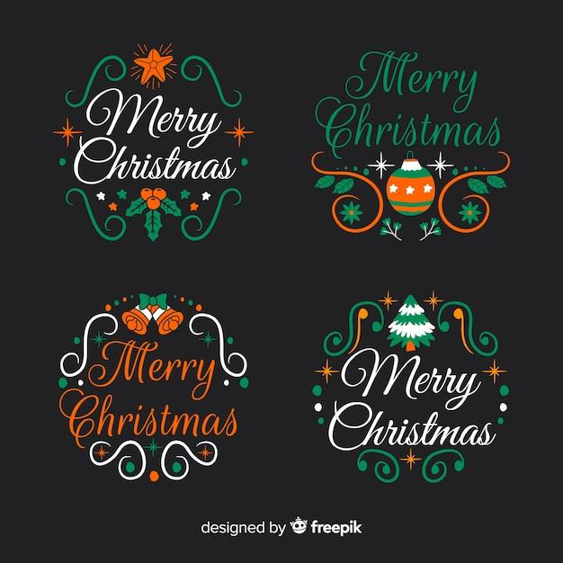 Hand gezeichnete weihnachtsaufkleber- und -ausweissammlung auf schwarzem hintergrund Kostenlosen Vektoren