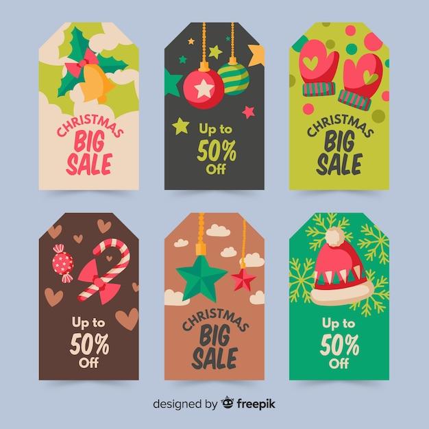 Hand gezeichnete weihnachtsausweissammlung Kostenlosen Vektoren