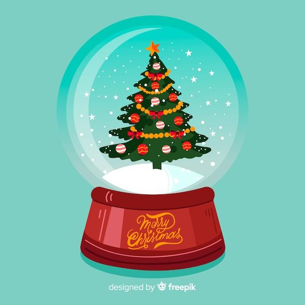 Hand gezeichnete weihnachtsbaum-schneeballkugel Kostenlosen Vektoren