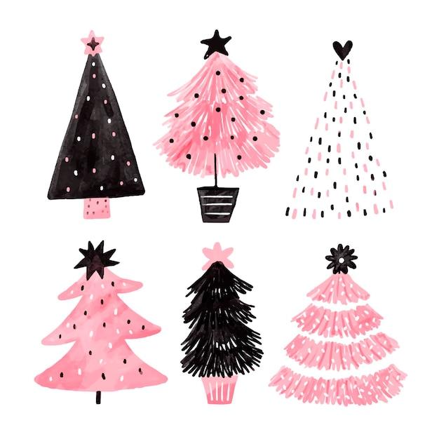 Hand gezeichnete weihnachtsbaumsammlung Premium Vektoren