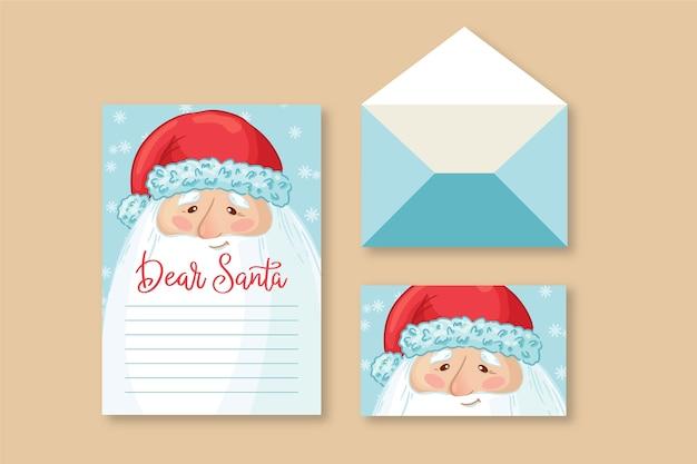 Hand gezeichnete weihnachtsbriefpapierschablone Kostenlosen Vektoren