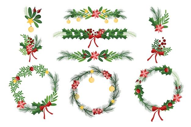 Hand gezeichnete weihnachtsdekoration sammlung Kostenlosen Vektoren