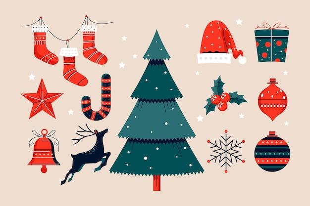 Hand gezeichnete weihnachtselementsammlung Premium Vektoren
