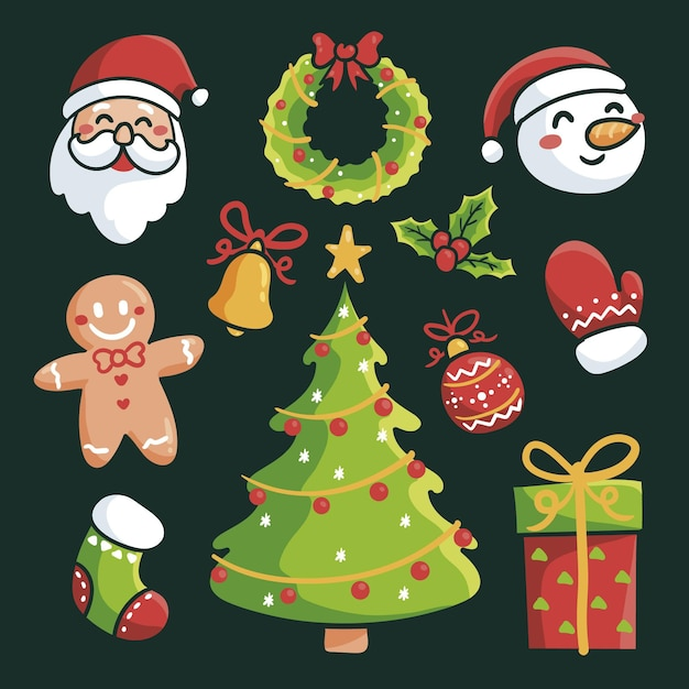 Hand gezeichnete weihnachtselementsammlung Kostenlosen Vektoren