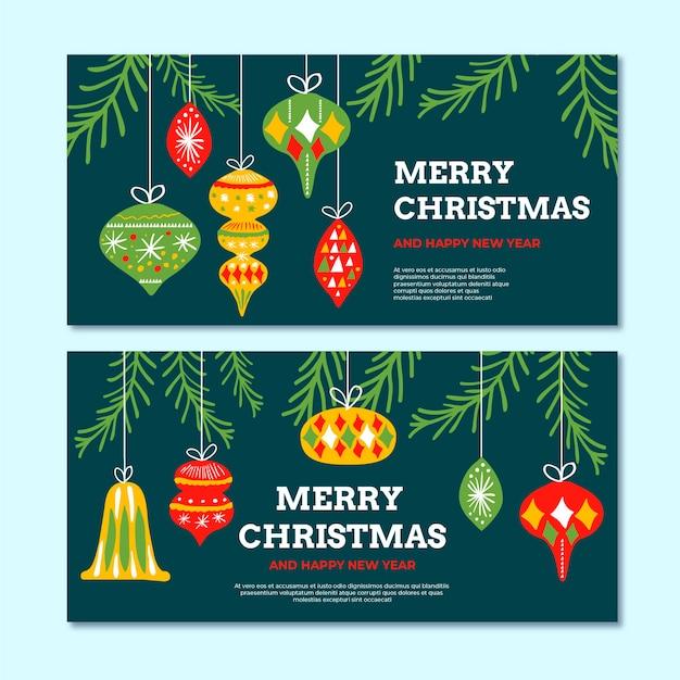 Hand gezeichnete weihnachtsfahnenschablone Kostenlosen Vektoren