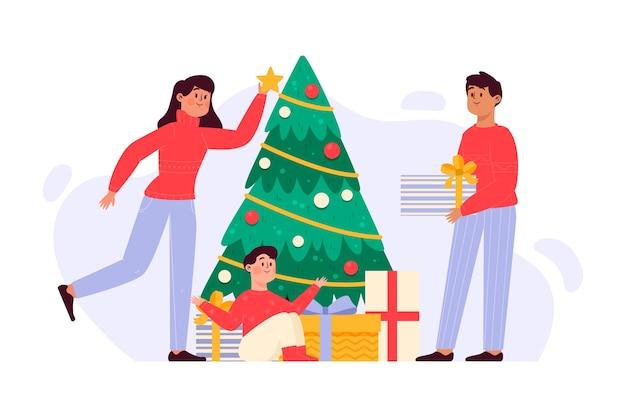 Hand gezeichnete weihnachtsfamilienillustration Kostenlosen Vektoren