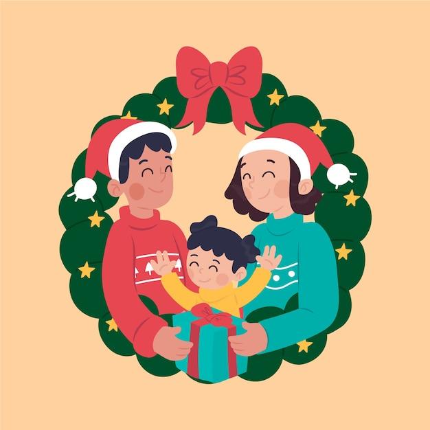 Hand gezeichnete weihnachtsfamilienszene Kostenlosen Vektoren