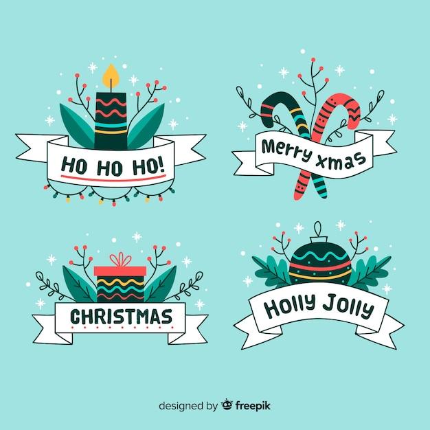 Hand gezeichnete weihnachtsfarbbandsammlung Kostenlosen Vektoren