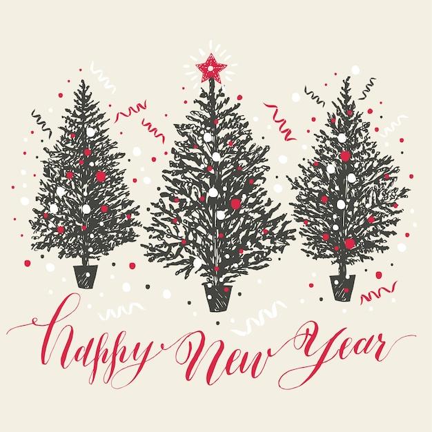Hand gezeichnete Weihnachtskarte. Bäume des neuen Jahres mit Schnee ...