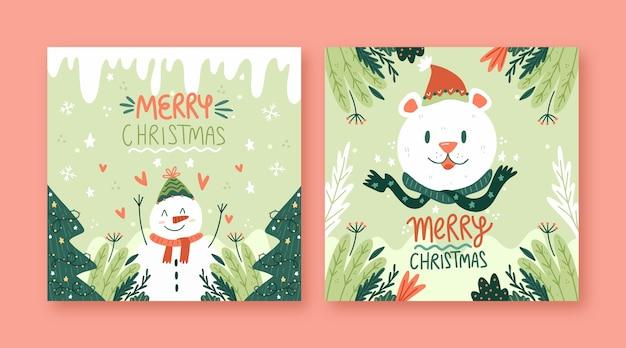 Hand gezeichnete weihnachtskarten Kostenlosen Vektoren