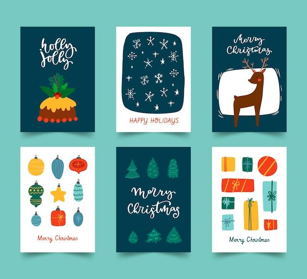 Hand gezeichnete weihnachtskartensammlung Premium Vektoren