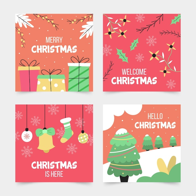 Hand gezeichnete weihnachtskartensammlung Kostenlosen Vektoren