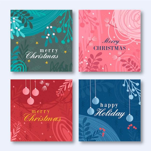 Hand gezeichnete weihnachtskartenschablone Kostenlosen Vektoren