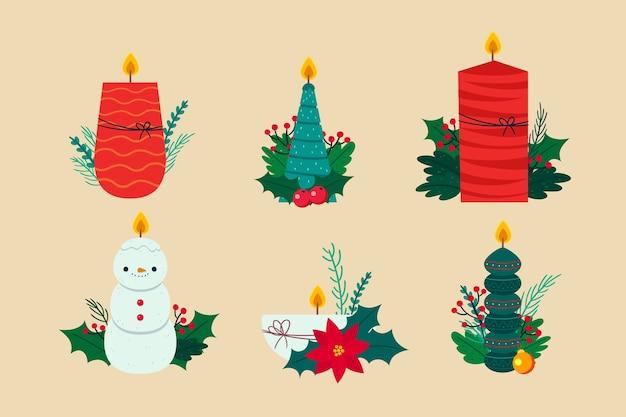 Hand gezeichnete weihnachtskerzensammlung Kostenlosen Vektoren