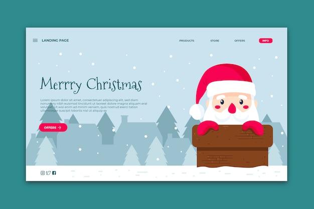 Hand gezeichnete weihnachtslandungsseitenschablone Kostenlosen Vektoren