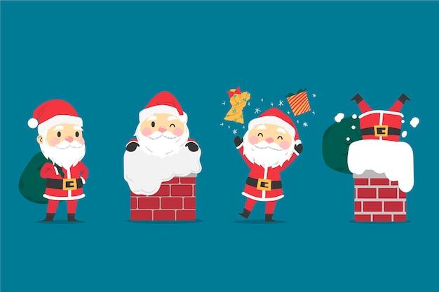 Hand gezeichnete weihnachtsmann-charaktersammlung Kostenlosen Vektoren