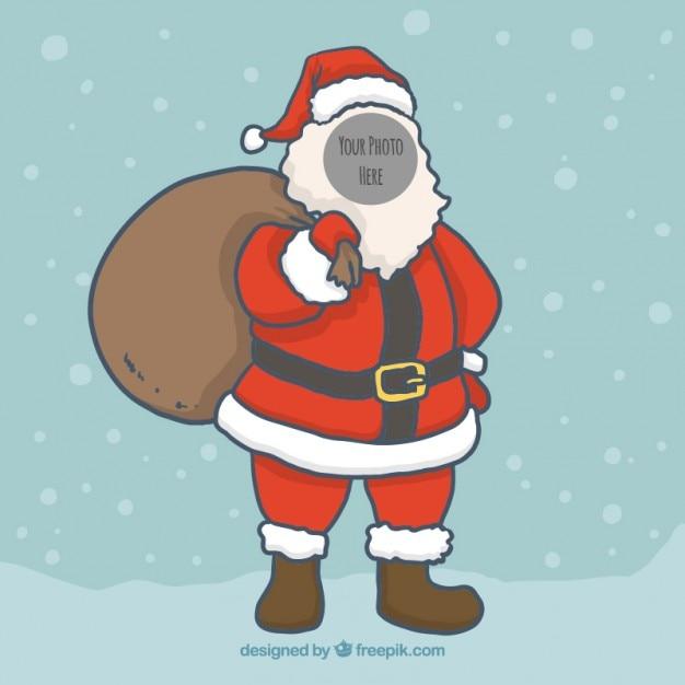 Hand gezeichnete weihnachtsmann-foto-schablonen ...