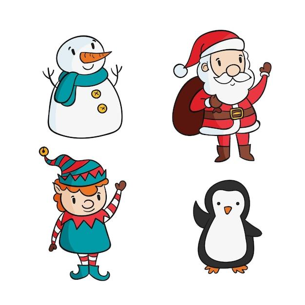 Hand gezeichnete weihnachtsmann-zeichensammlung Kostenlosen Vektoren