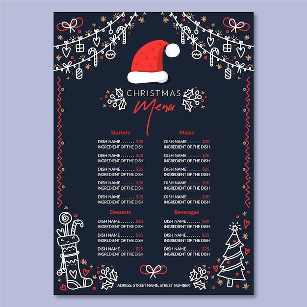 Hand gezeichnete weihnachtsmenüschablone Kostenlosen Vektoren