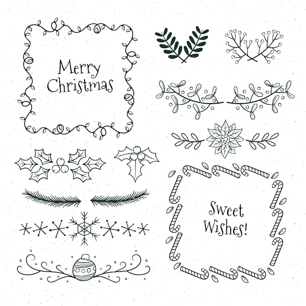 Hand gezeichnete weihnachtsrahmen und -grenzen auf weißer oberfläche Kostenlosen Vektoren
