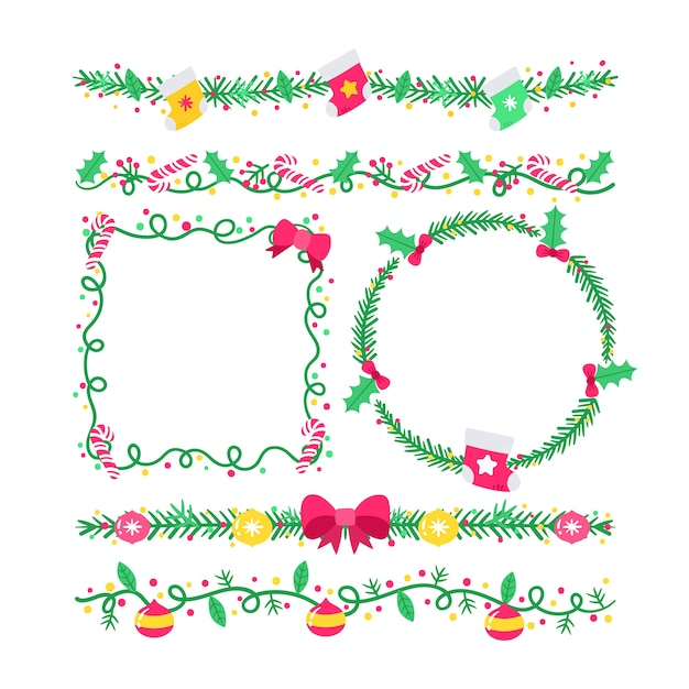Hand gezeichnete weihnachtsrahmen und -grenzen Kostenlosen Vektoren