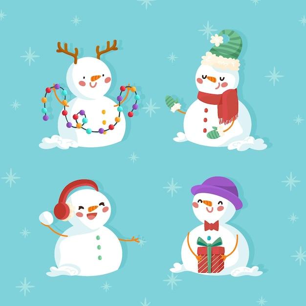 Hand gezeichnete weihnachtsschneemannsammlung Premium Vektoren