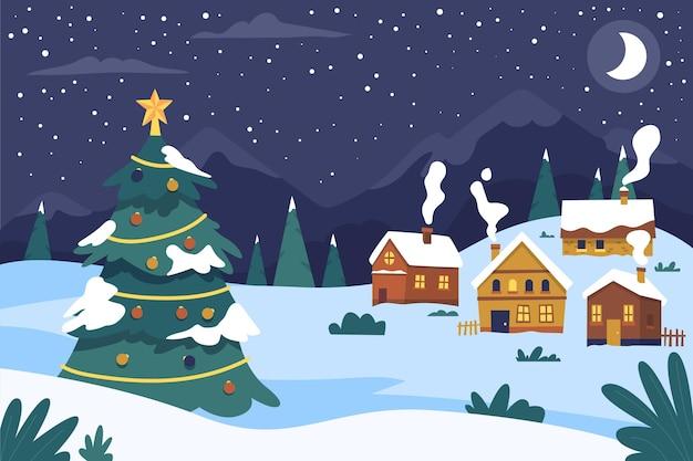 Hand gezeichnete weihnachtsstadt Kostenlosen Vektoren