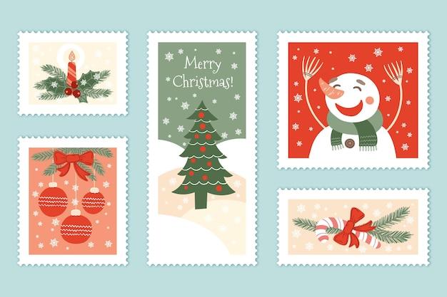 Hand gezeichnete weihnachtsstempelsammlung Kostenlosen Vektoren