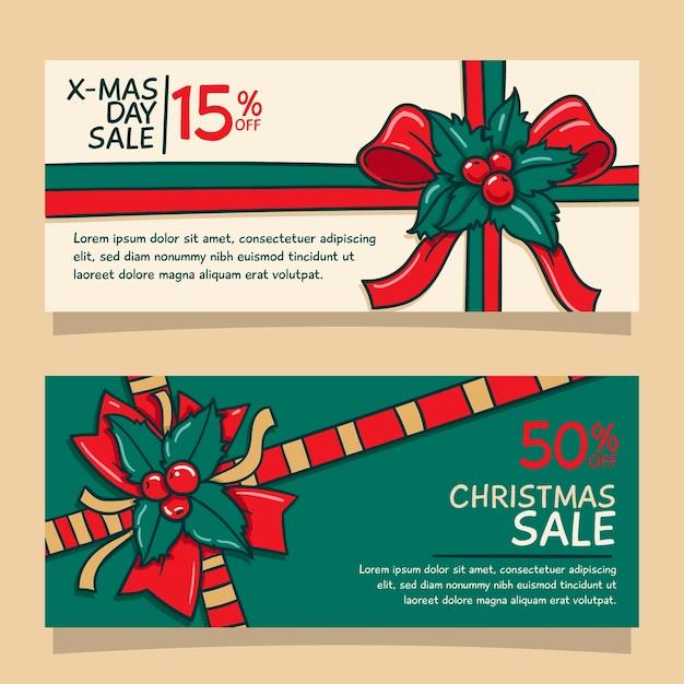 Hand gezeichnete weihnachtsverkaufsfahnenschablone Premium Vektoren
