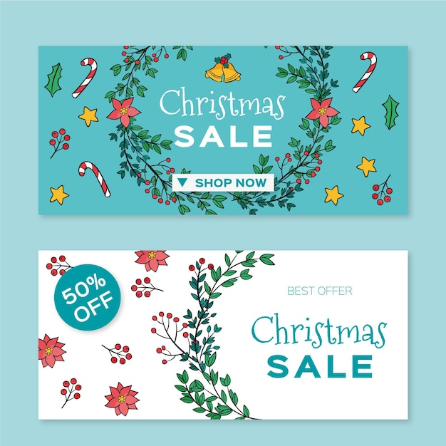 Hand gezeichnete weihnachtsverkaufsfahnenschablone Kostenlosen Vektoren