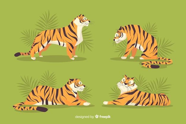 Hand gezeichnete wilde tigersammlung Kostenlosen Vektoren