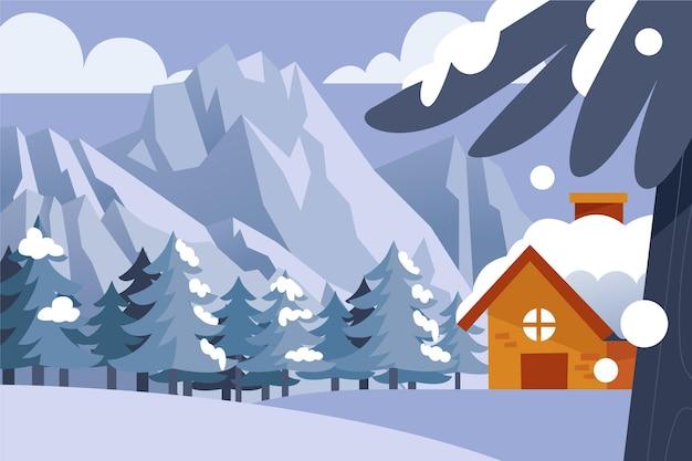 hand gezeichnete winterlandschaft  kostenlose vektor