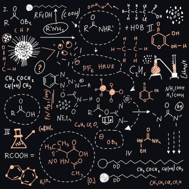 Hand gezeichnete wissenschaftliche formeln auf tafel Kostenlosen Vektoren
