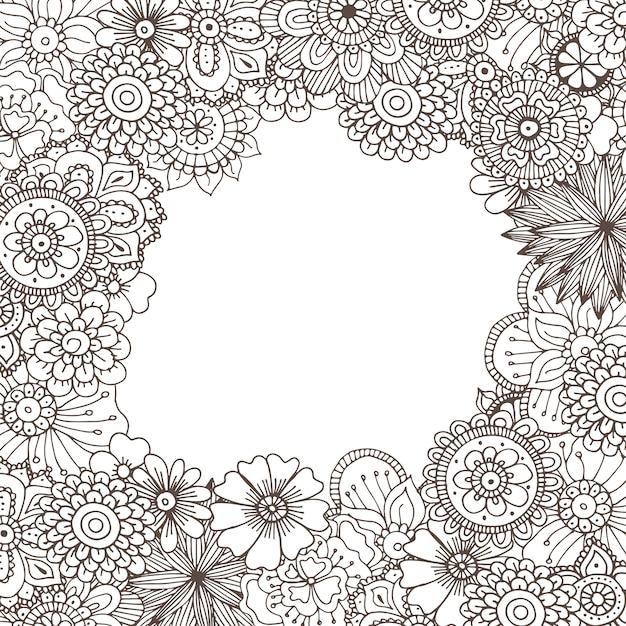 Hand gezeichnete zentangle gekritzelillustration für erwachsene malbücher Premium Vektoren