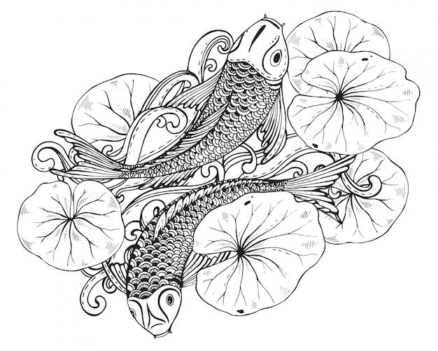 Hand gezeichnete zwei koi-fische mit lotusblatt Premium Vektoren