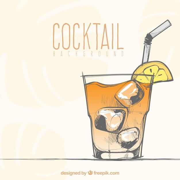 Hand gezeichneten cocktail hintergrund Kostenlosen Vektoren