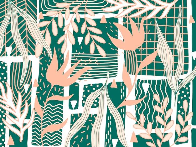Hand gezeichneter abstrakter blumenhintergrund Premium Vektoren