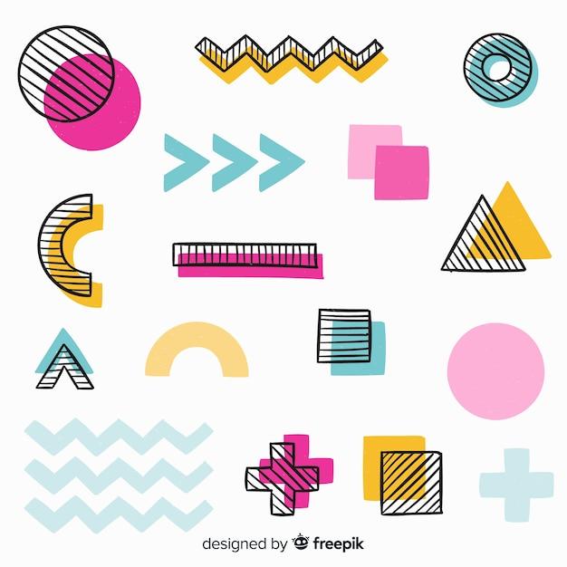 Hand gezeichneter abstrakter geometrischer hintergrund Kostenlosen Vektoren