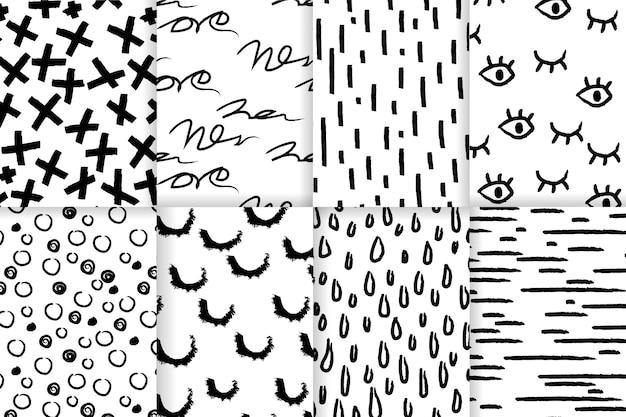 Hand gezeichneter abstrakter mustersatz Kostenlosen Vektoren