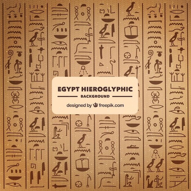 Hand gezeichneter ägyptischer hieroglyphenhintergrund Kostenlosen Vektoren
