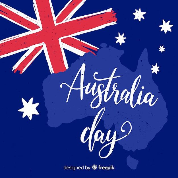 Hand gezeichneter australien-tageshintergrund Kostenlosen Vektoren