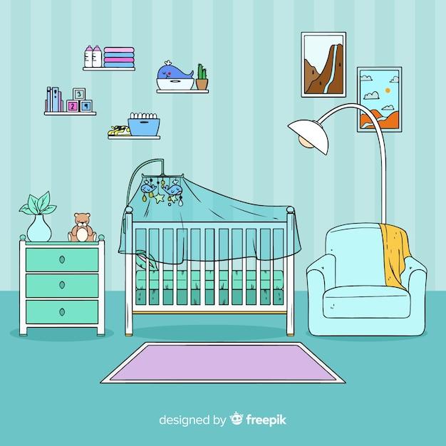 Hand gezeichneter babyraumhintergrund Kostenlosen Vektoren