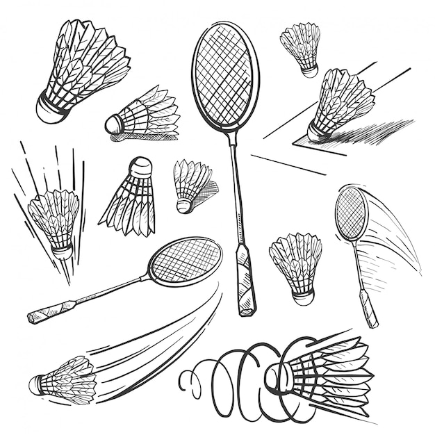 Hand gezeichneter badminton-ikonensatz Premium Vektoren