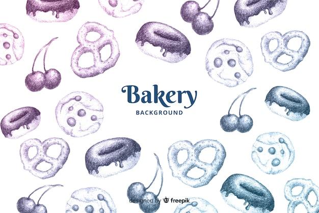 Hand gezeichneter bäckereihintergrund Kostenlosen Vektoren