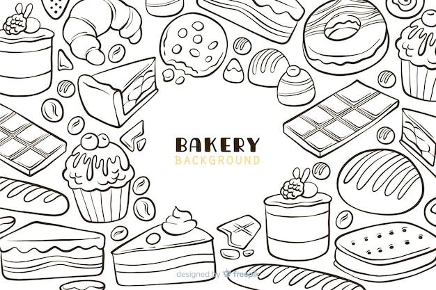 Hand gezeichneter bäckereilebensmittelhintergrund Kostenlosen Vektoren